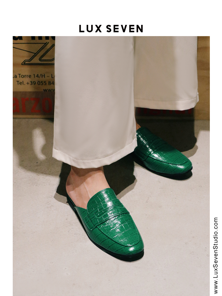 不要太有范 Lux Seven祖母绿小众轻奢鳄鱼纹真皮平底半拖女穆勒鞋