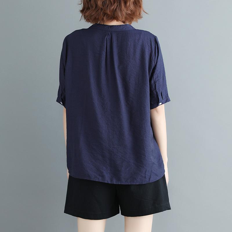 夏装新款文艺宽松拼色V领亚棉麻上衣加肥大码女装休闲短袖衬衫潮
