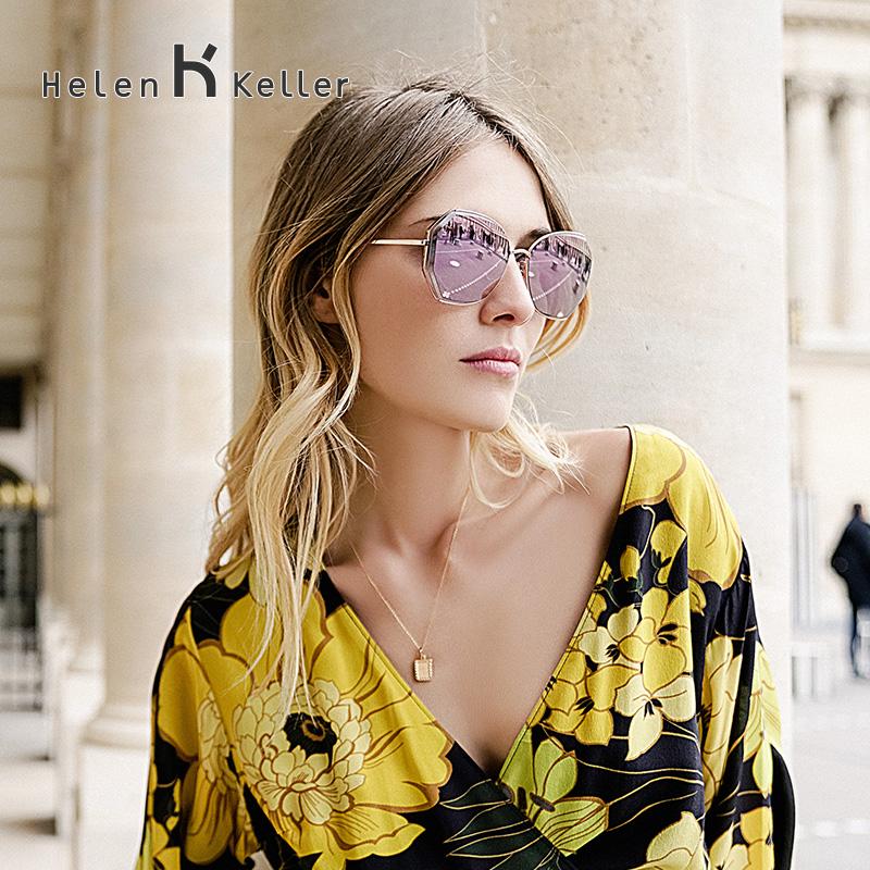 海伦凯勒2019新款韩版潮流明星眼镜大框太阳镜圆脸偏光墨镜女8826