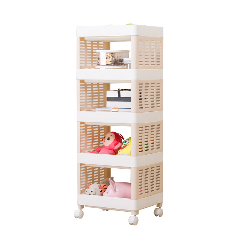 宝优妮推车置物架婴儿用品收纳落地多层储物架移动客厅厨房收纳架