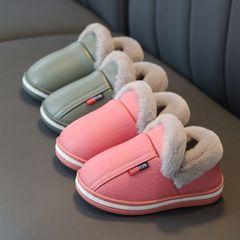 8品质pu皮防水儿童棉拖鞋男亲子居家室内防滑加厚毛毛鞋宝宝女童价格比较