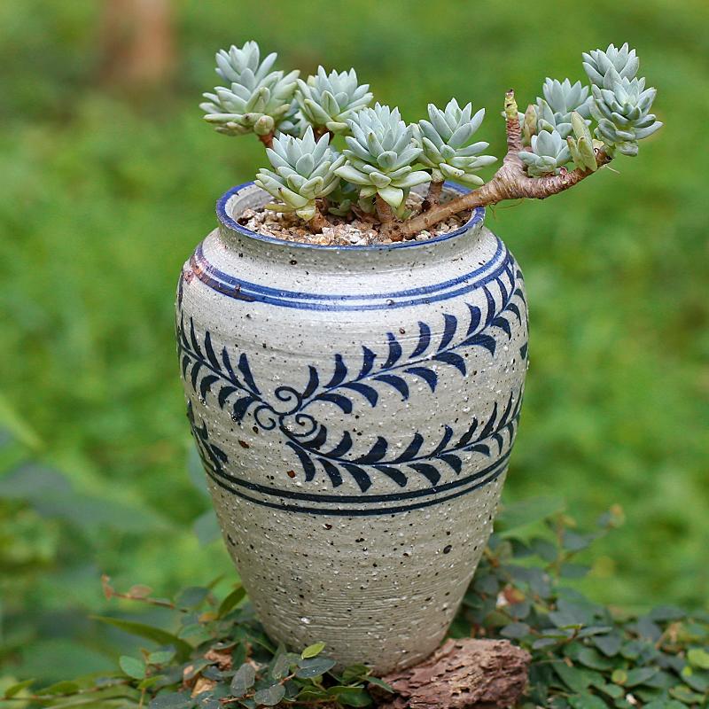 手绘多肉青花盆创意复古中国风粗陶肉肉多花盆老桩粗陶罐绿植花盆