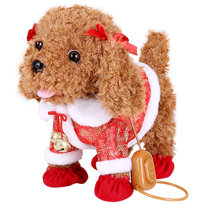 儿童电动玩具狗仿真毛绒泰迪牵绳狗会唱歌叫走路小狗智能机器狗狗