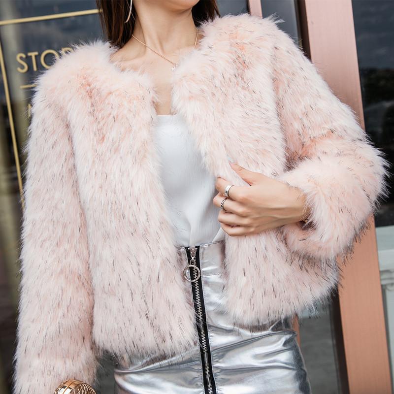2018冬季仿貉子毛编织皮草外套女时尚短款粉色小香风狐狸毛毛外套