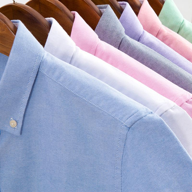 夏季纯色短袖衬衫男蓝色牛津纺半袖衬衣青年韩版修身休闲男装寸衫