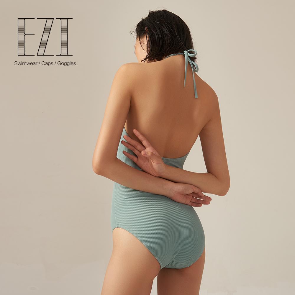 弈姿新款连体泳衣女小胸聚拢保守遮肚泳装性感显瘦修身温泉游泳衣