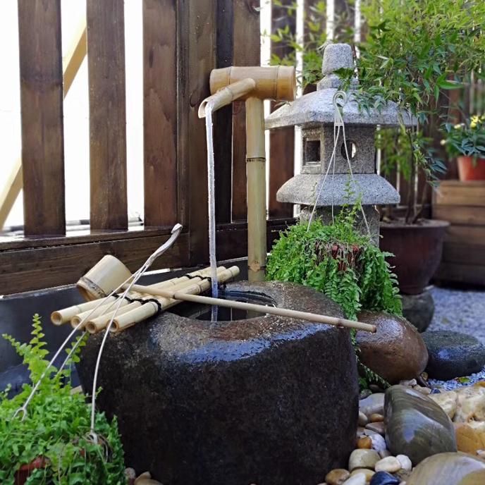 日式庭院石钵竹子流水器滴水僧都枯山水景观日料理店装饰石槽石缸