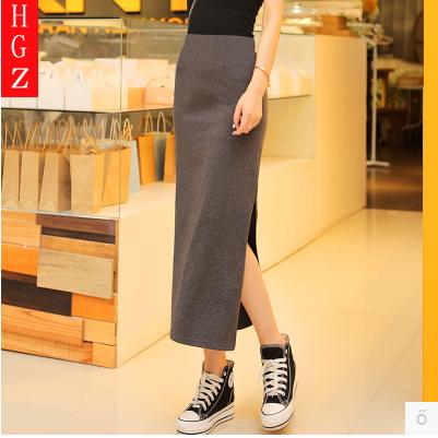 2021春季新款韩版包臀裙高腰长裙侧开叉半身裙纯棉打底裙显瘦包邮