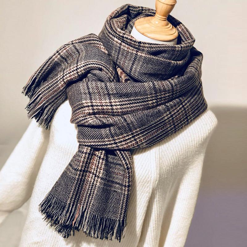 围巾女秋冬季韩版学生百搭针织披肩长款英伦千鸟格子保暖围脖两用