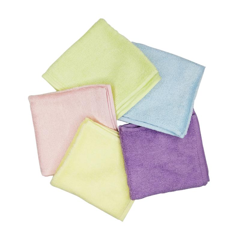 5条安耐士竹纤维毛巾A类婴儿宝宝小方巾手帕口水巾成人美容巾柔软