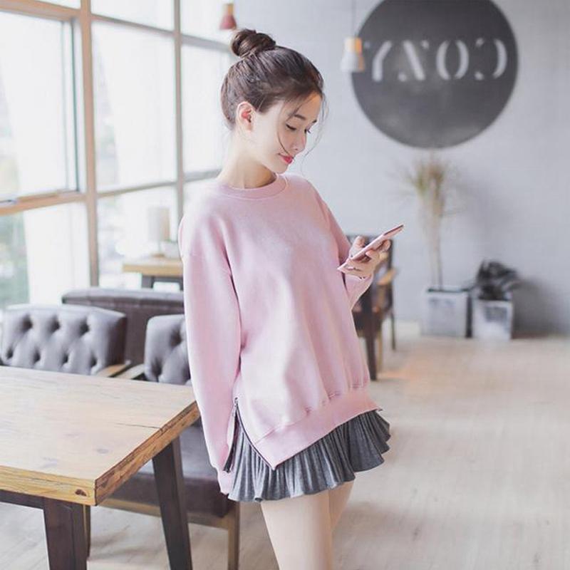 2018秋装新款韩版学生时尚长袖卫衣套装小个子名媛百褶短裙两件套