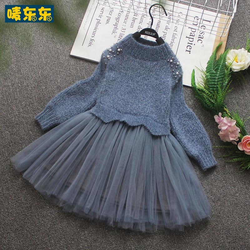 女童18秋冬新款儿童长袖毛衣裙韩版加绒连衣裙小女孩洋气加绒纱裙