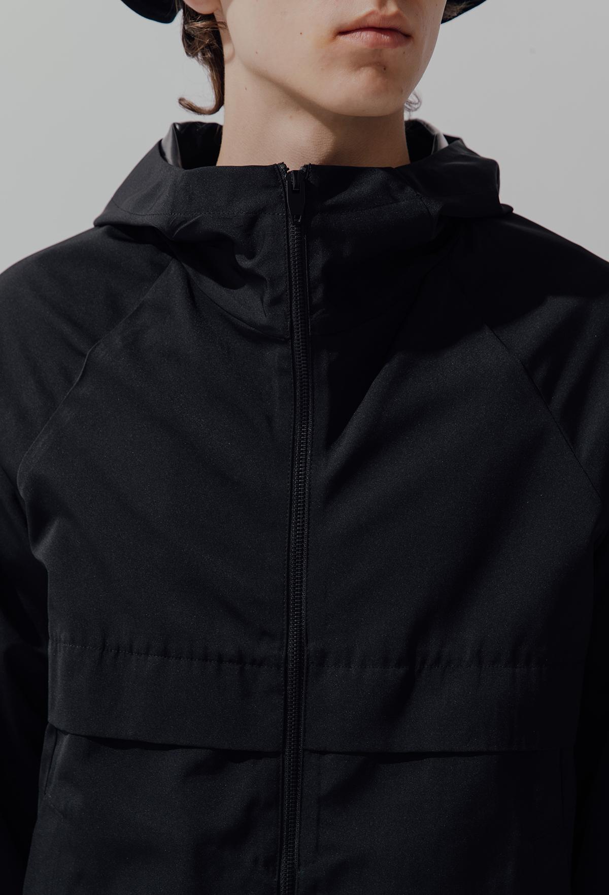 KAMI ANGER独立设计师品牌秋季防水机能黑色休闲男装连帽风衣外套