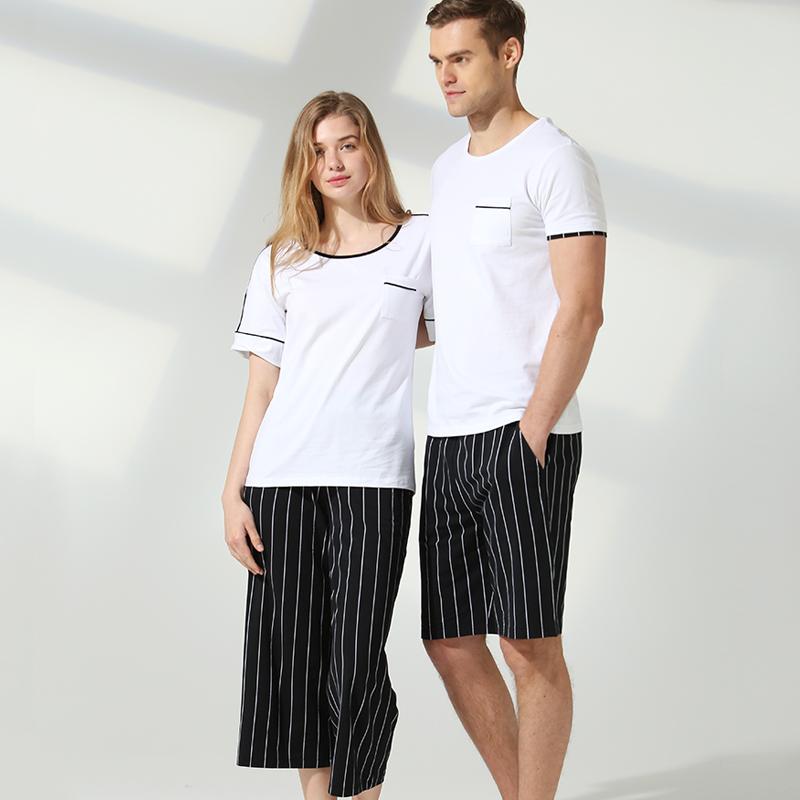 维仕威情侣睡衣夏男士薄款棉莫代尔短袖短裤女士家居服套装