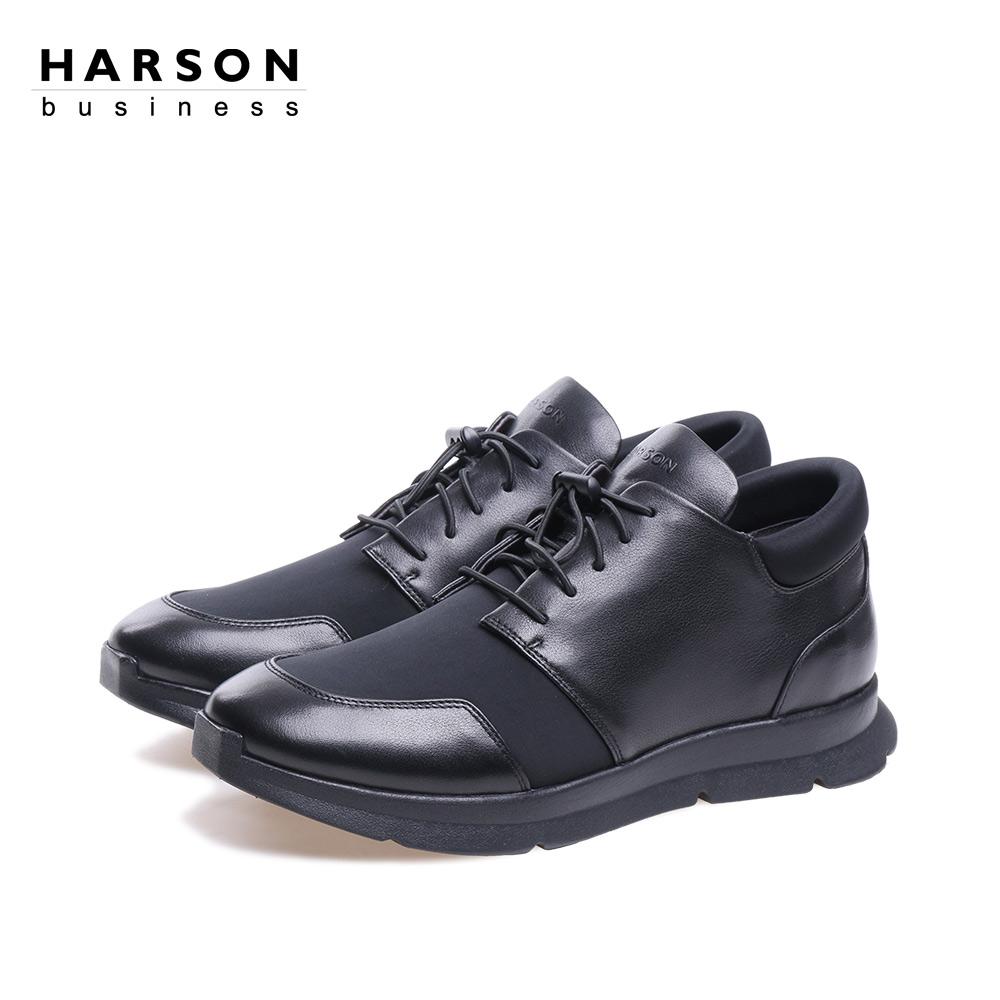 哈森 2018春季新品牛皮革男鞋平跟圆头韩版时尚休闲鞋ms87055图片