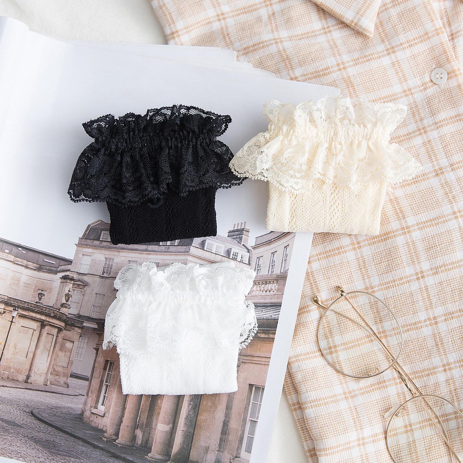 黑色蕾丝洛丽塔袜子女长筒袜日系lolita中筒薄款夏白色花边堆堆袜