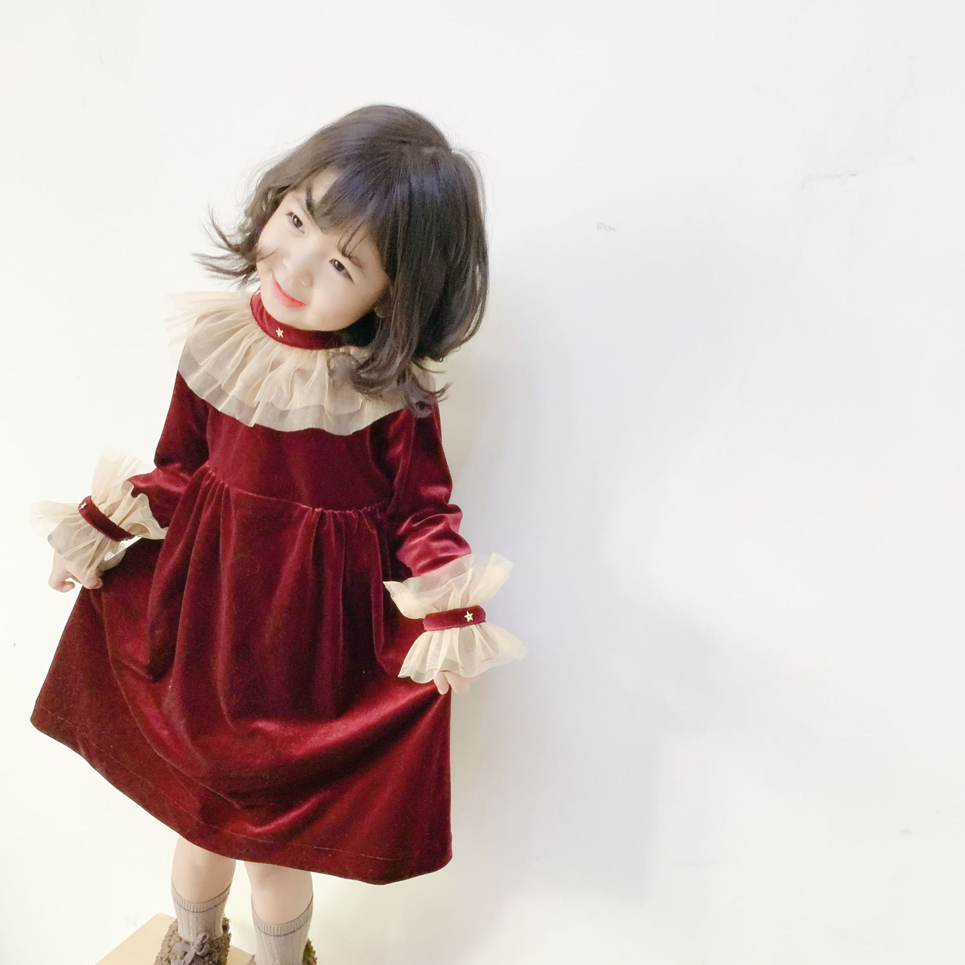 女童气质连衣裙20秋冬女宝宝新年红裙子儿童奢华丝绒礼服裙送披风