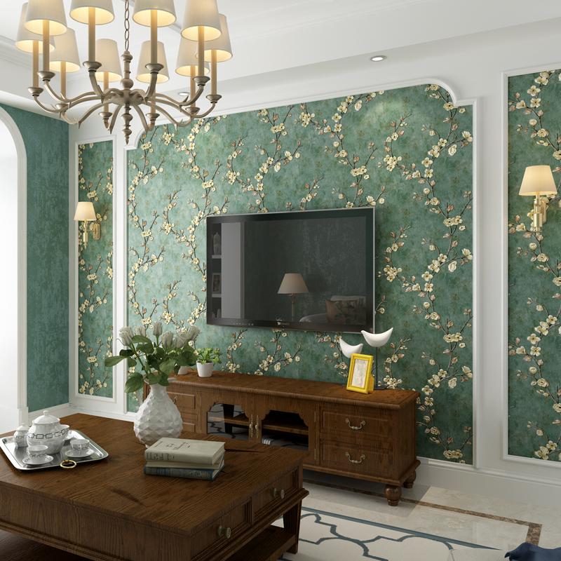 复古美式乡村壁纸无纺布3D立体田园风格卧室客厅AB版电视背景墙纸