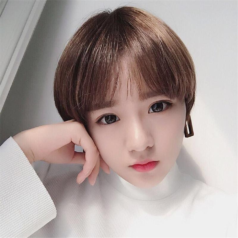 韩国假发女短发齐耳学生逼真齐斜刘海圆脸自然