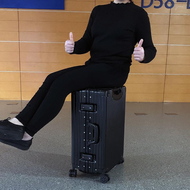 梦旅者直角铝框箱子行李箱女韩版小清新拉杆箱外交男官复古旅行箱