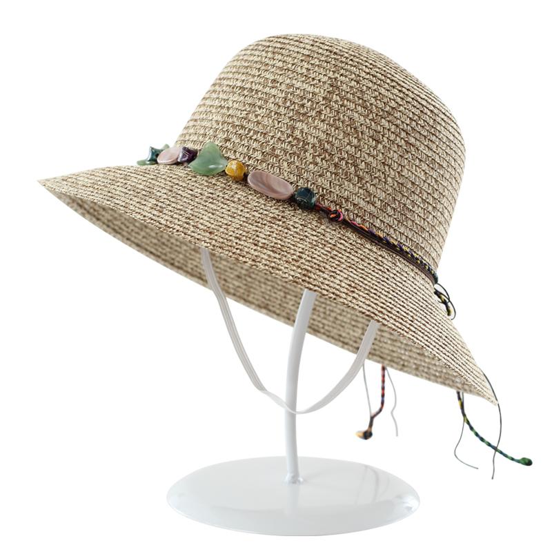 声马可折叠草帽女夏天防晒沙滩海边度假出游遮阳花环帽子韩版百搭