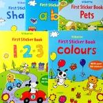 小气球英文版 宝宝第一套贴纸书大张贴纸认字母颜色形状 5本套装