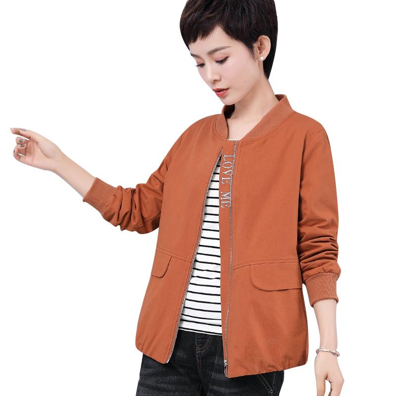 短外套女大码女装中年妈妈2019春装新款宽松外衣百搭棉夹克棒球服