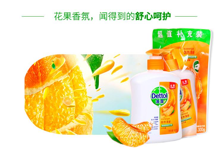 滴露洗手液健康抑菌洗手液柑橘清新500g送300g补充装 家用清香型