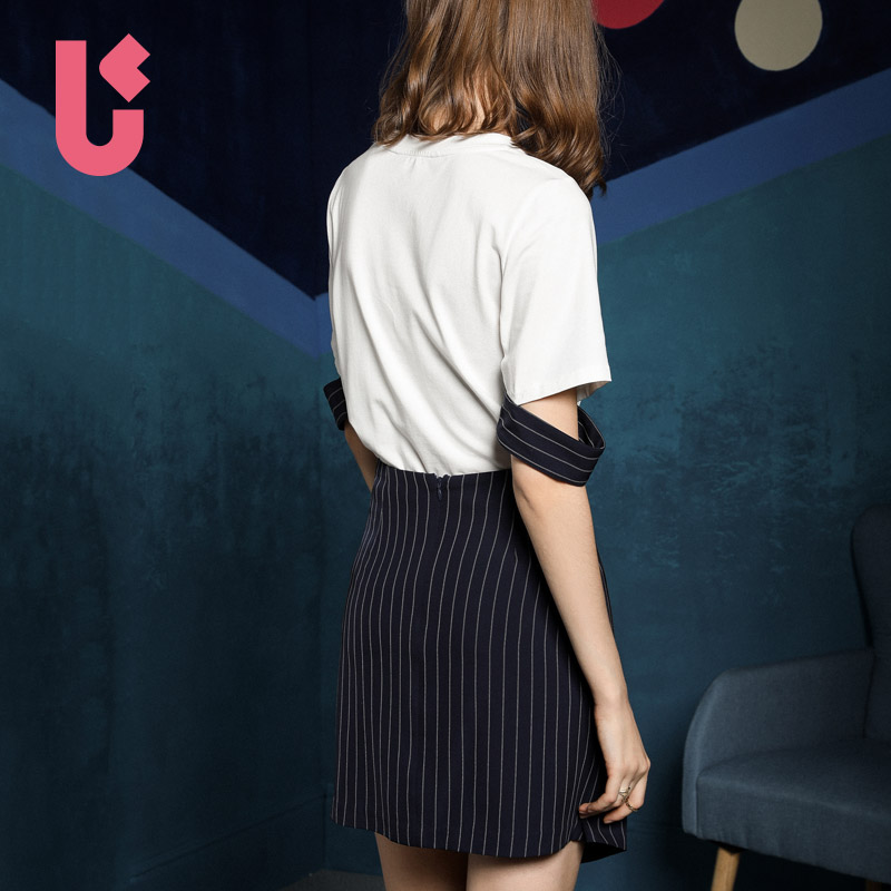 2018春装新款短袖字母T恤上衣条纹不规则时髦套装女夏季两件套潮