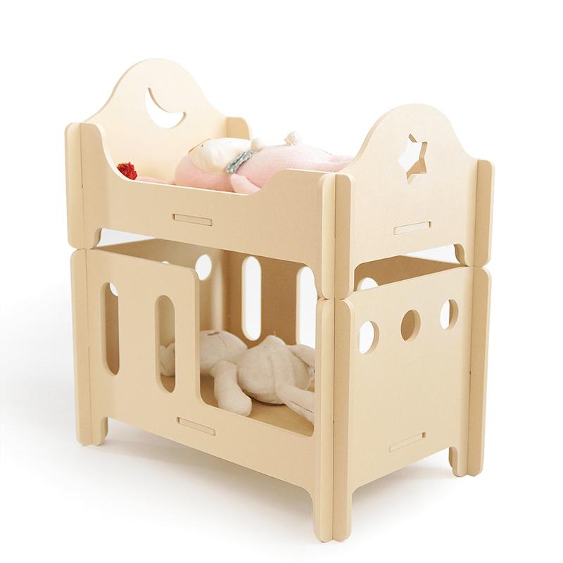 木质儿童过家家玩具女童娃娃床公主娃娃家具女孩生日礼物手工创意