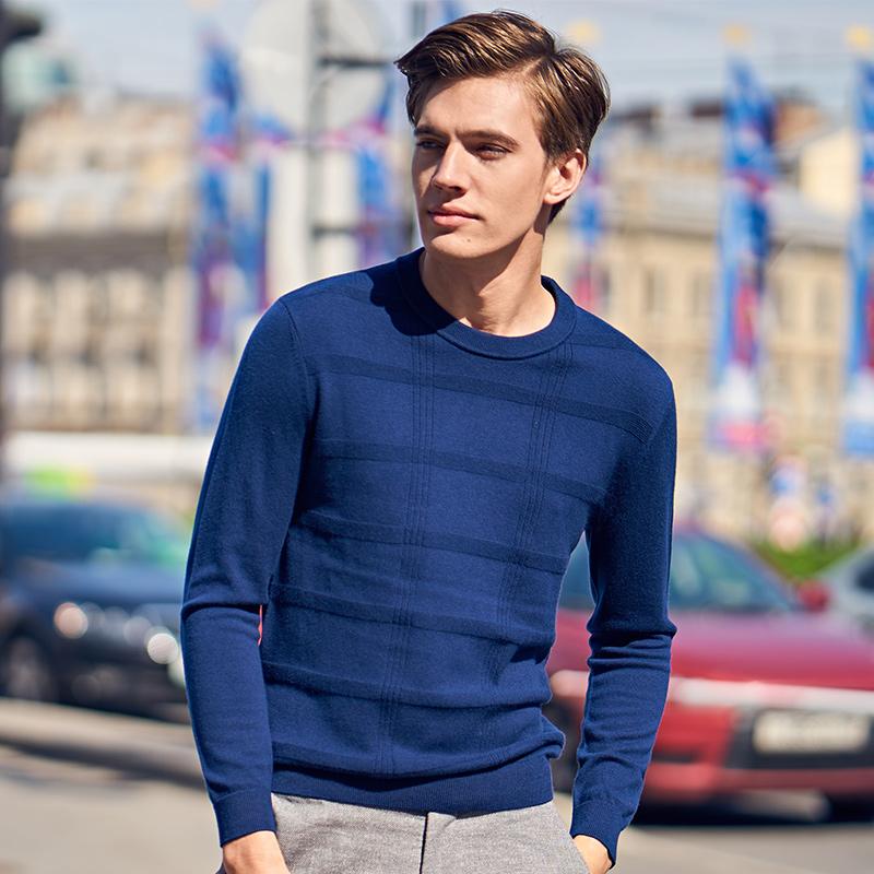 布先生 长袖T恤 羊毛衫圆领套头纯羊毛衫针织男长袖t恤BT3690