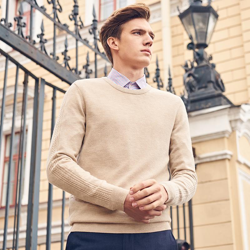 布先生秋冬款男毛衣 纯色羊毛圆领男士毛衣长袖t恤