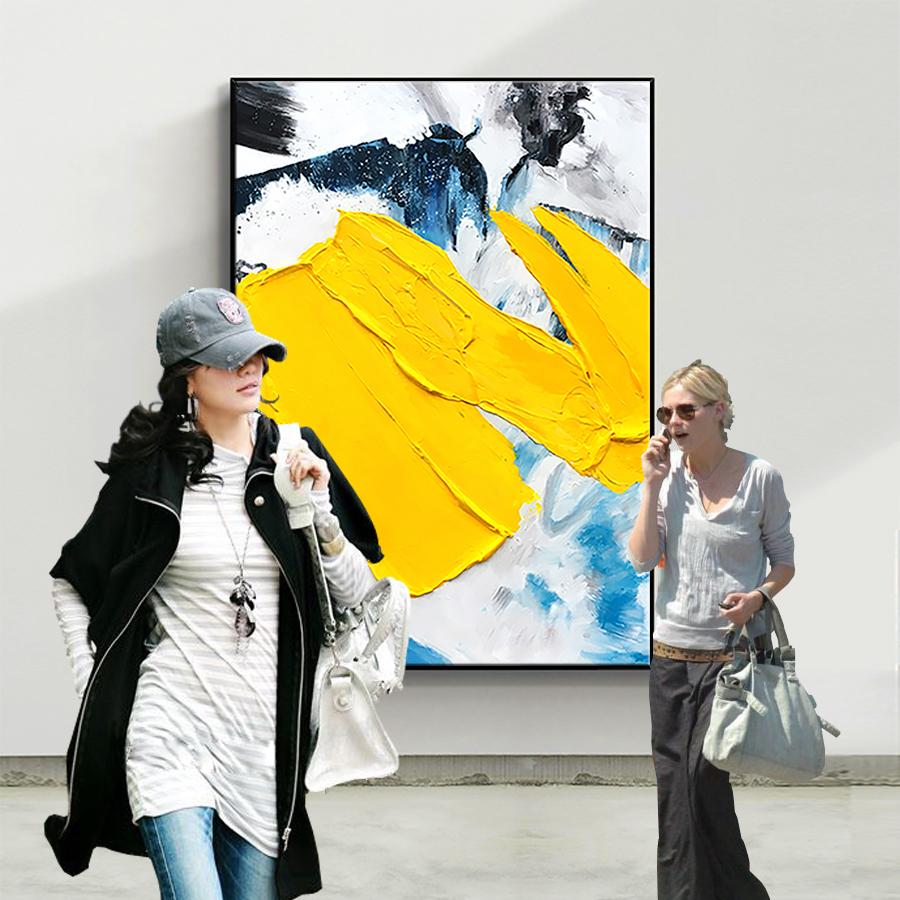 玄关现代简约抽象手绘油画客厅沙发背装饰画色块肌理立体金箔挂画