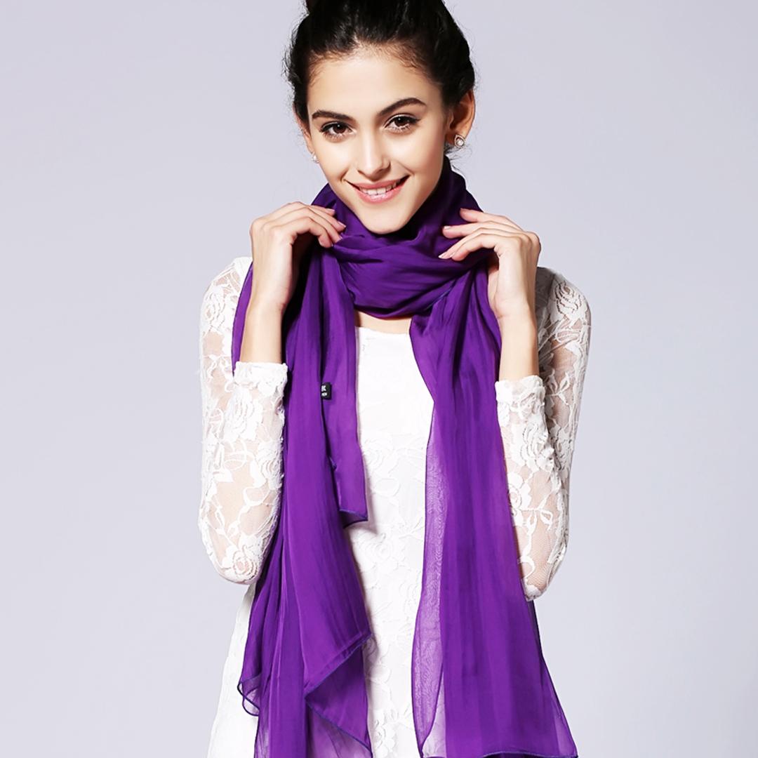 百搭韩版纯色两用薄款真丝雪纺冬季围巾桑蚕丝披肩女春秋紫色丝巾
