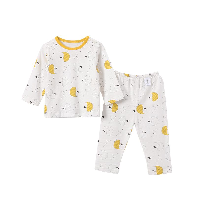 安吉小羊男女宝宝套装夏季新款薄款洋气家居棉婴儿小童长袖空调服
