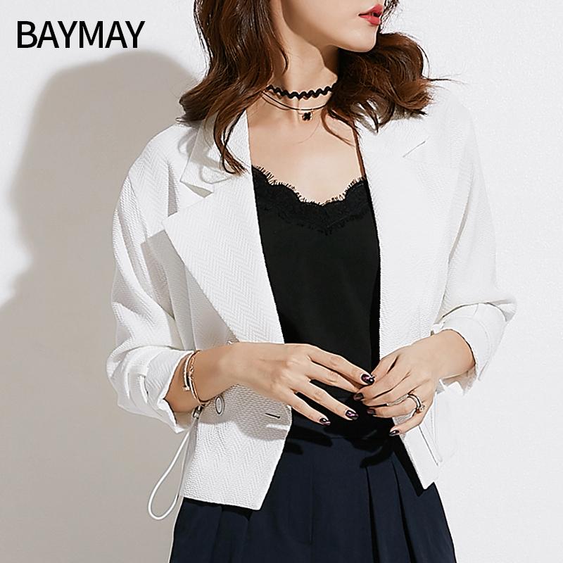 西装外套女2018秋装新款韩版女装时尚薄款职业OL小西装白色短外套