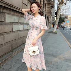 雪纺的连衣裙韩范学生小个子2019夏季中长款气质显瘦过膝长裙女仙