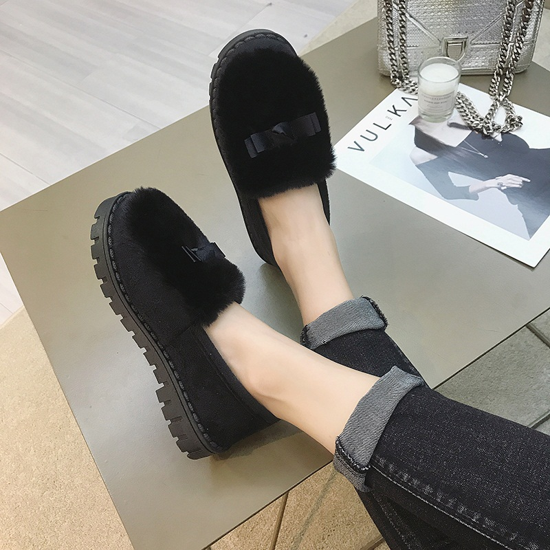 毛毛鞋女2018秋冬英伦风平底英伦风女学生复古低跟一脚蹬懒人鞋潮