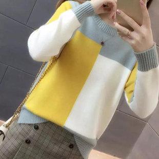 韩版秋冬短款针织打底衫女时尚竞松套头毛衣撞色圆慵懒风上衣