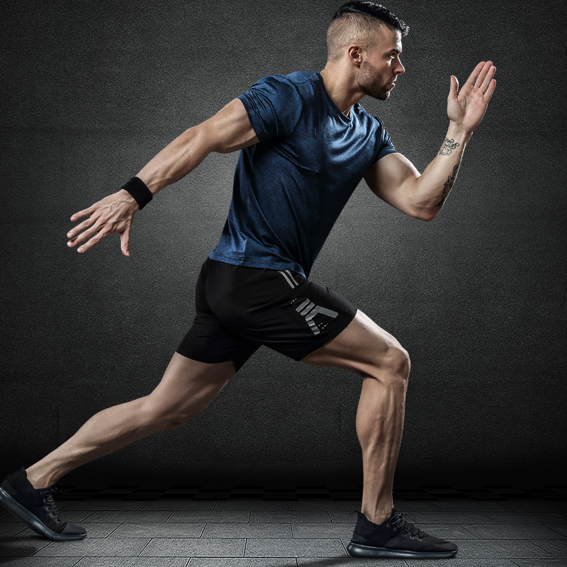 运动短袖男宽松圆领休闲T恤夏季新款弹力吸汗透气健身跑步速干衣