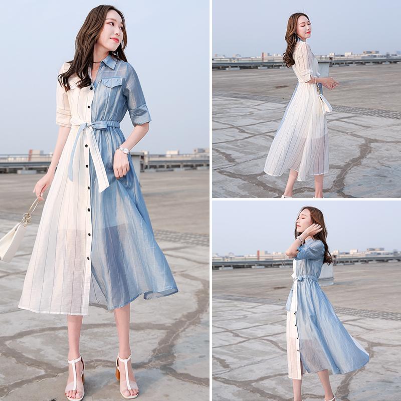 2018新款女装夏修身中长衬衫连衣裙女气质条纹拼接两件套衬衣裙子