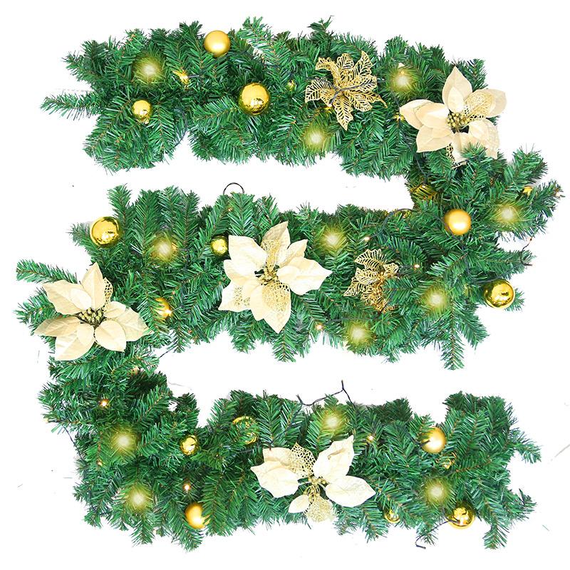 圣诞节装饰品2.7米加密藤条带灯套装酒店场景布置圣诞藤条圣诞树