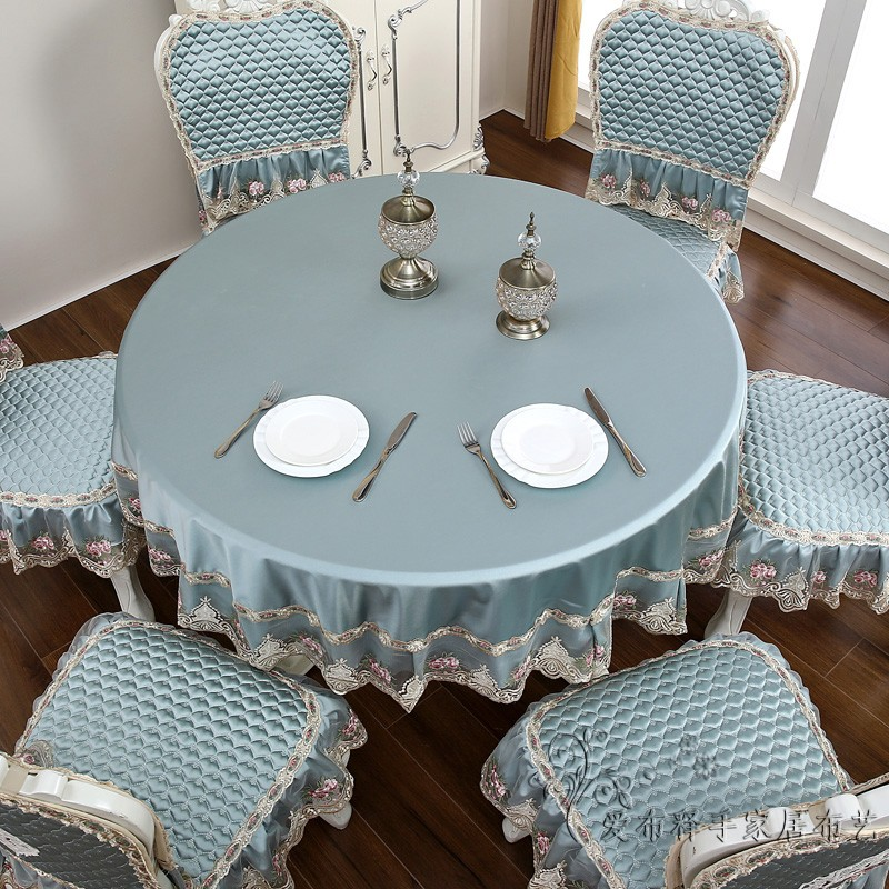 高档欧式餐椅垫套装四季家用清新餐桌布圆桌布方桌布茶几布艺垫子