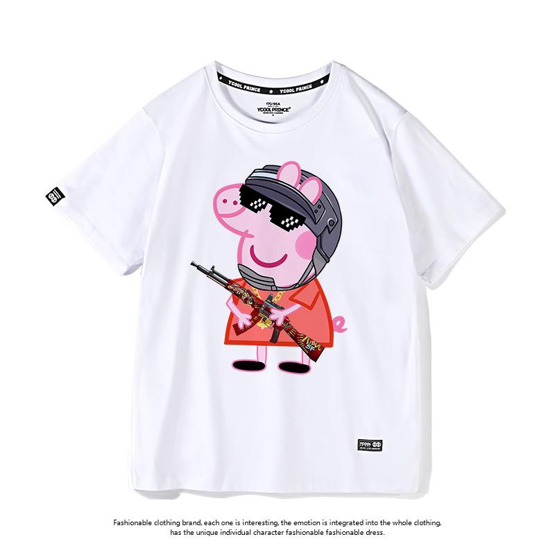小猪佩奇t恤男 绝地求生衣服吃鸡短袖半袖潮牌宽松纯棉潮流社会人