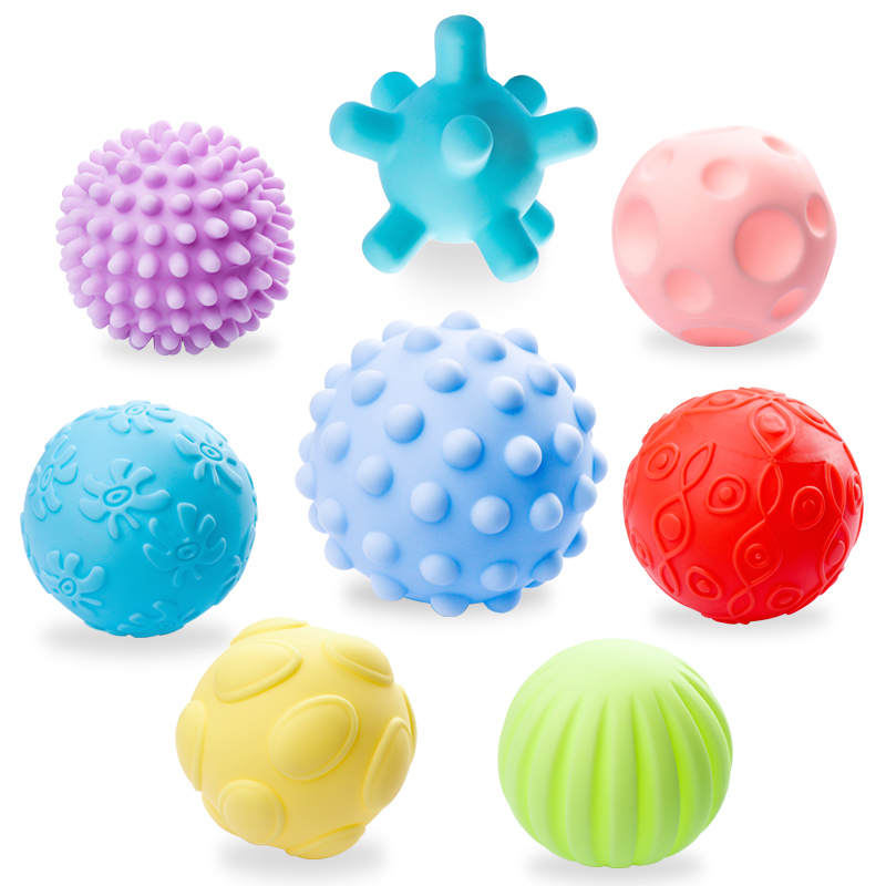 婴儿手抓球益智软胶0-6-12个月触觉感知类玩具宝宝感统按摩球可咬