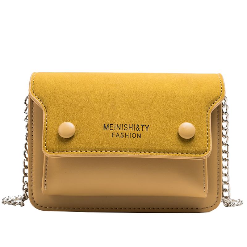 夏天小清新撞色包包女2019新款流行包包高质感磨砂单肩斜挎链条包