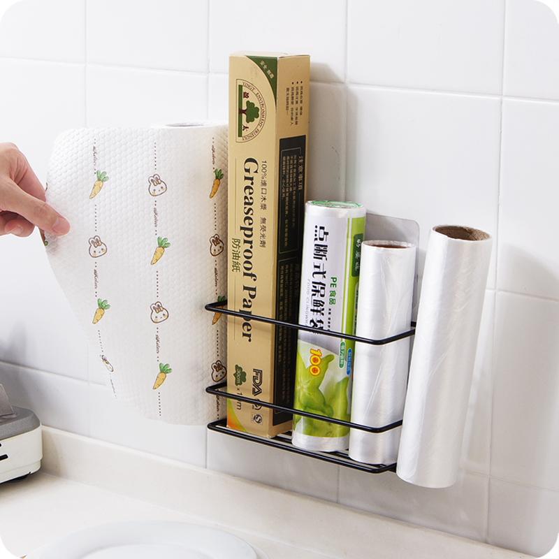 优思居 免打孔保鲜膜架 冰箱侧壁卷纸挂架收纳架厨房用纸架置物架