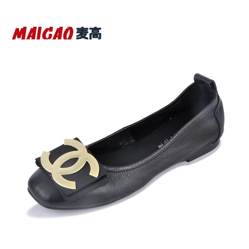 麦高瓢鞋女鞋2018新款夏秋真皮软底四季鞋子浅口豆豆鞋女平底船鞋