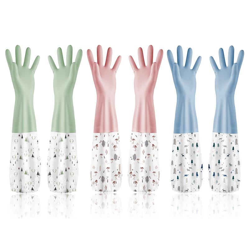 洗碗手套女厨房耐用家用防水冬季加绒加厚橡胶乳胶家务清洁洗衣服