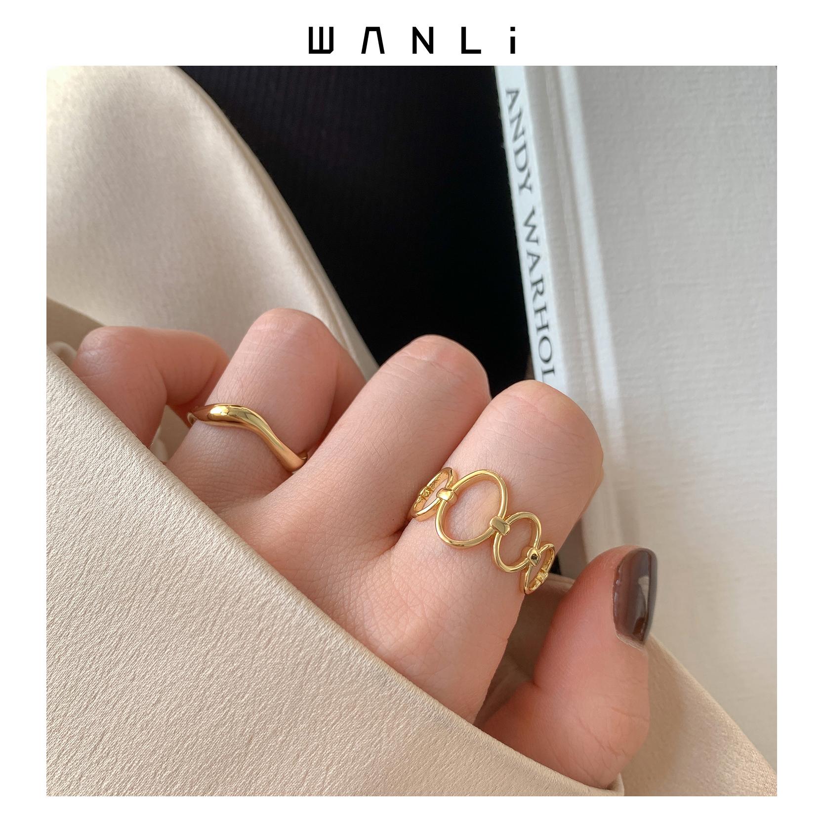 挽里饰品 镂空圆环食指戒指两只一套不规则chic叠戴个性指环潮人